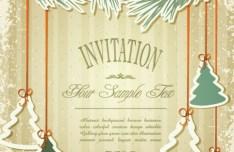 Vintage Merry Christmas Invitation Card Ornaments Vector 03