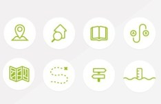 8 Green Random Icons PSD