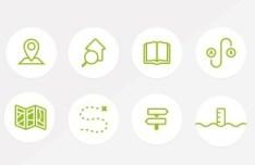 8 Green Random Icons PSD