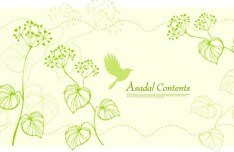 Fresh Green Spring Bird and Floral Vector 01