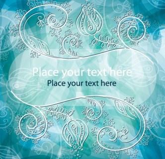 White Flourish Swirls With Vintage Floral Background Vector 01
