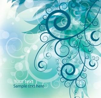 White Flourish Swirls With Vintage Floral Background Vector 02