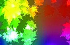 Neon Light Maple Leaves Background Vector 02