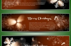 Set Of Vector Merry Christmas Cards with Bright Snowflake Backgrounds 03