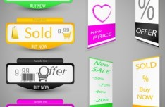 Set Of Vector Retail Store Stickers and Buttons 02