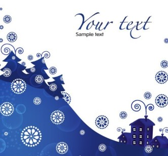 Blue Christmas Illustration For Merry Christmas Card Vector 01