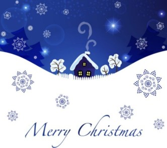Blue Christmas Illustration For Merry Christmas Card Vector 04