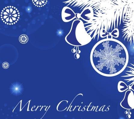 Blue Christmas Illustration For Merry Christmas Card Vector 05