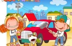 Cartoon Car Washing Illustration