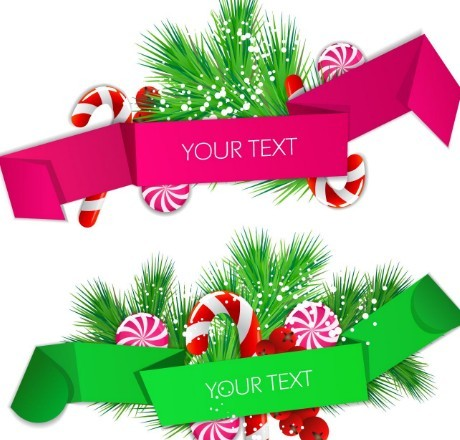 colored ribbon label with christmas ornaments vector 02
