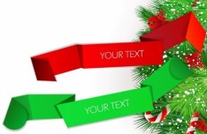 Colored Ribbon Label with Christmas Ornaments Vector 03