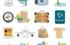 Set of Vector Global Travel Icons 01