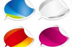 4 Creative Colored Speech Bubble Paper Labels