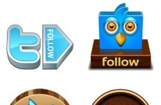 Clean 3D Twitter Follow Buttons Vector 01