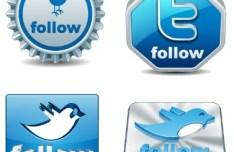 Clean 3D Twitter Follow Buttons Vector 02