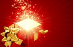 Red Opened Gift Box with Flying Stars Vector 02