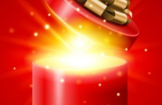 Red Opened Gift Box with Flying Stars Vector 03