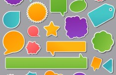 Set Of Cartoon Blank Speech Bubbles and Stickers