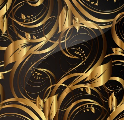Gorgeous Golden Floral Pattern Vector 02