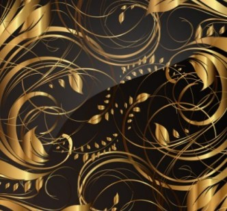 Gorgeous Golden Floral Pattern Vector 04