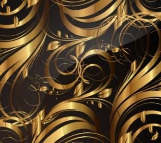 Gorgeous Golden Floral Pattern Vector 05