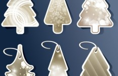 Set Of Creative Christmas Tree Hang Tags Vector 02