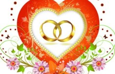 Vector Gold Rings and Floral Background 02