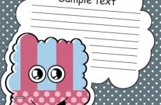 Cartoon Speech Bubble with Cute Monster Vector 02