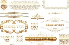 Golden Floral Ornaments For Borders and Frames Vector