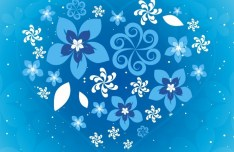 Creative Love Heart Of Blue Flowers Vector