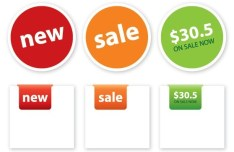 Simple Rounded and Corner Price Tags Vector