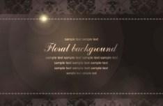 Vintage Brown Floral Pattern with Bright Halos Vector 02