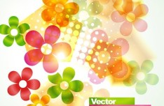 Bright & Colorful Flowers Background Vector