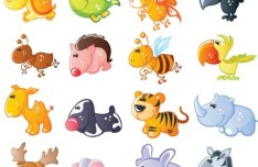 Set Of Cute Cartoon Animal Icons
