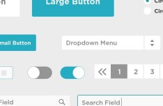 Blue Flat UI Kit PSD
