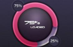 Circular Pink Loading Bar with Percentage PSD