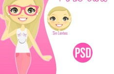 Cute Cartoon Girl PSD