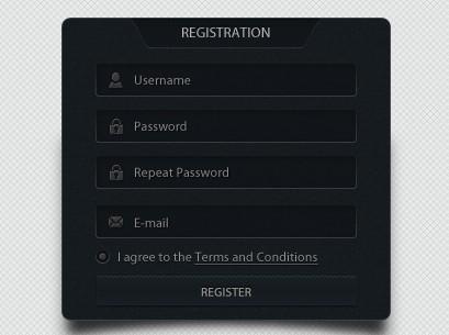 Dark Web Form Designs PSD
