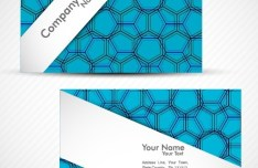 Fashion Business Cards with Blue Abstract Hexagon Backgrounds Vector