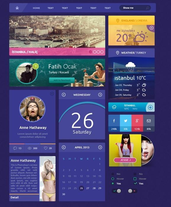 Flat Purple Web UI Kit PSD