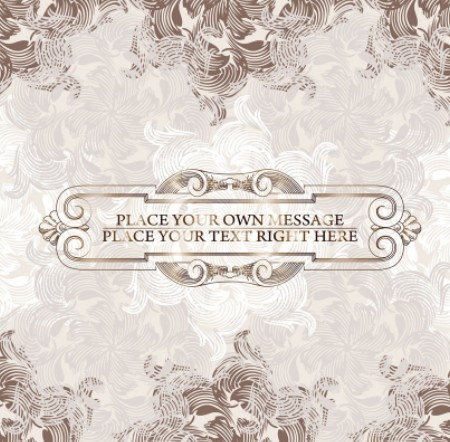 Brown Vintage Label with Floral Swirls Background Vector 01
