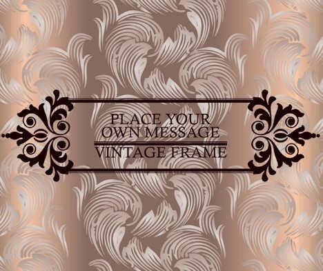 Brown Vintage Label with Floral Swirls Background Vector 03