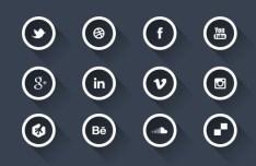 Dark Circular Social Icons with White Borders PSD