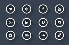 Dark Circular Social Icons with White Borders PSD