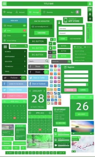 Green Flat UI Design Kit PSD