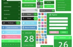 Green Flat UI Design Kit PSD