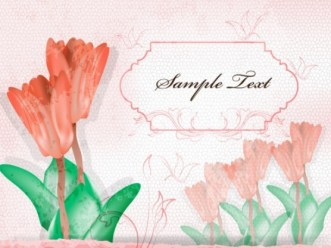 Vintage Red Tulips with Green Leaves Illustration Vector
