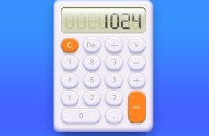 Realistic White Calculator with LED Display PSD