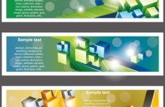 Set Of Vector Banners with Bright Abstract Cubes Background