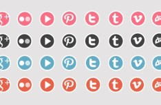 Simple Social Icons with White Borders PSD